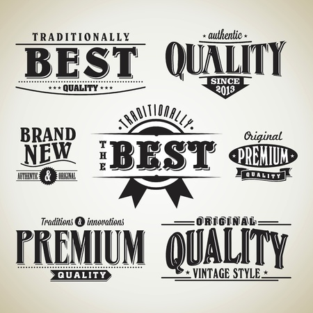 retro label collection  typographic design
