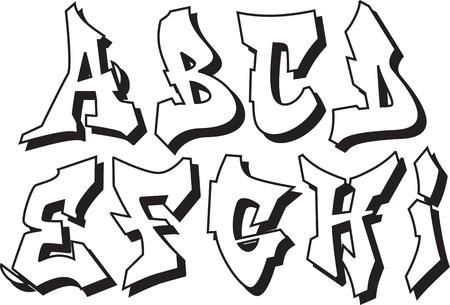abecedario graffiti: la fuente de graffiti alfabeto parte 1 Vectores