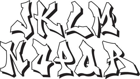 graffiti font alphabet part 2 Vector
