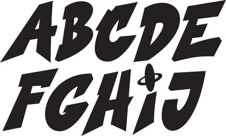abecedario graffiti: fuentes graffiti alfabeto parte 1 Vectores