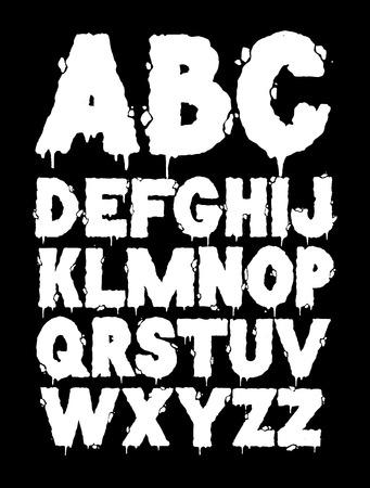 Vector grunge font alphabet