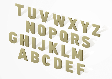 vector 3D font alphabet  wooden or stony