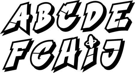 vector graffiti font alphabet    Vector