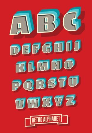 retro type: Vector retro type font  Vintage alphabet