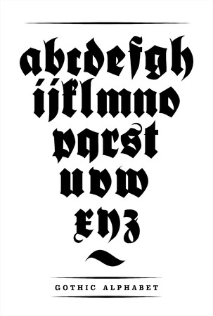 Vector gothic font alphabet with decorations  일러스트