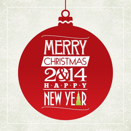 Merry Christmas and happy new year greeting card  typographic design  vector  Illustration