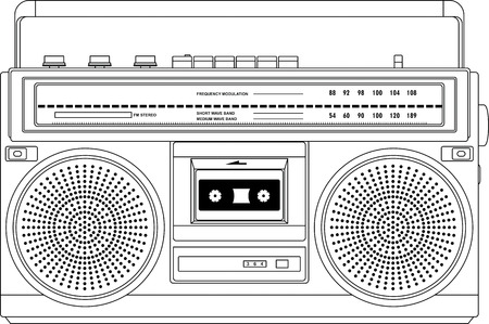 sound system: Vintage cassette recorder, ghetto blaster or boombox  vector