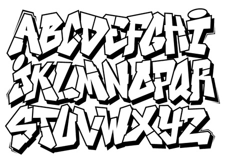 abecedario graffiti: Calle clásico arte del graffiti alfabeto tipo de fuente vectorial
