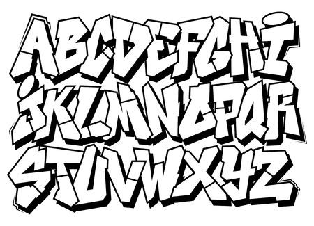 Classic street art graffiti font type  Vector alphabet  Illustration