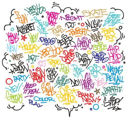 graffiti alphabet: Multiple urban art and graffiti tags, slogans, decorations  Vector