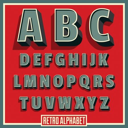 Vector retro type font  Vintage alphabet  Vector