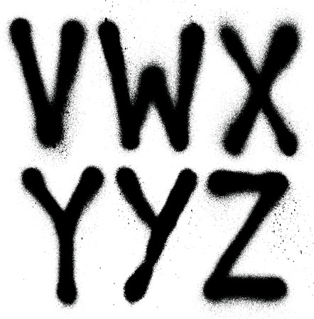 Detailed graffiti spray paint font type  part 4   Vector alphabet