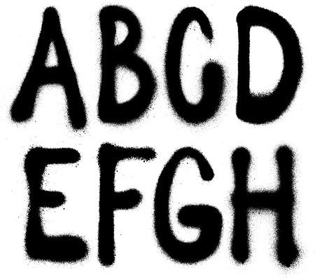 abecedario graffiti: Tipo de graffiti detallada fuente pintura en aerosol parte 1 Vector alfabeto