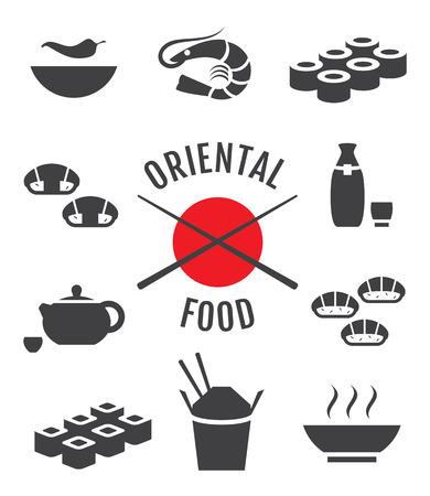 Vector set of oriental japanese food icons Illustration