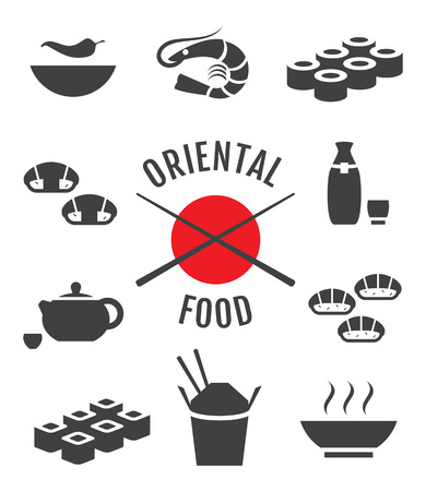 fried noodles: Vector set of oriental japanese food icons Illustration