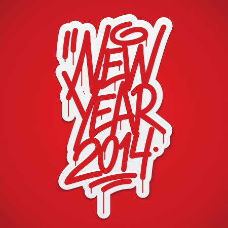 New year 2014 label lettering  Vector 일러스트