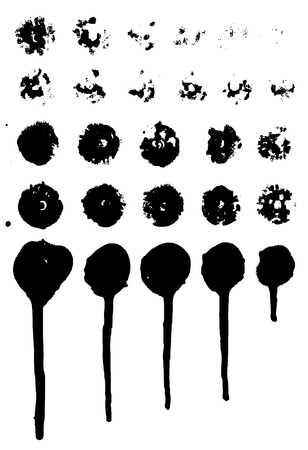 Set of grungy paint drips. Vector