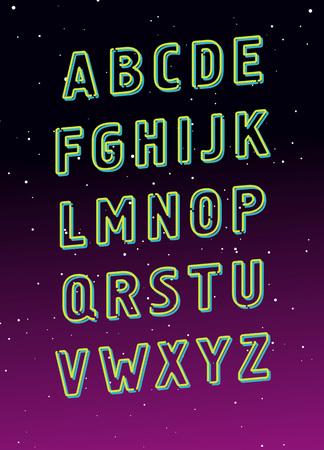 Neon tube glowing alphabet. Vector