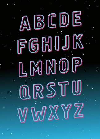 Neon tube glowing alphabet. Vector
