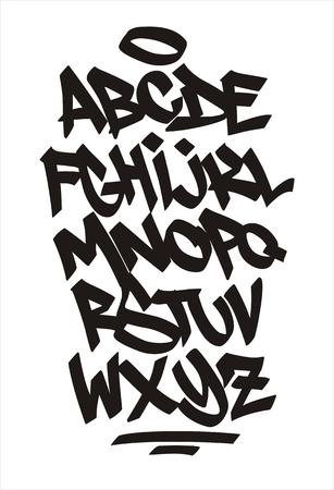 Vector graffiti font. Handwritten alphabet Vettoriali