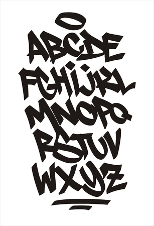 Vector graffiti font. Handwritten alphabet Illustration