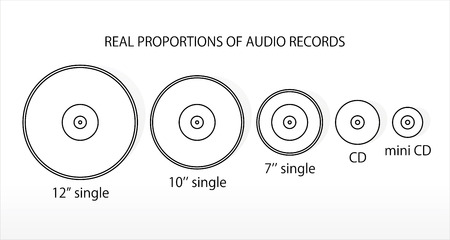 Real propportions of audio records. Vector 일러스트