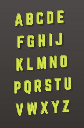 Vector alphabet. 3D style font