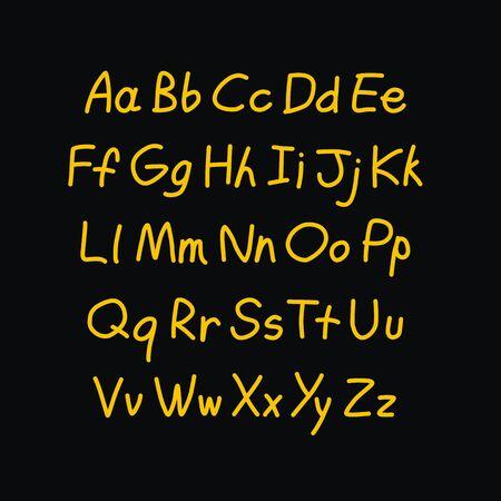 Contour comic style doodle alphabet. Vector font