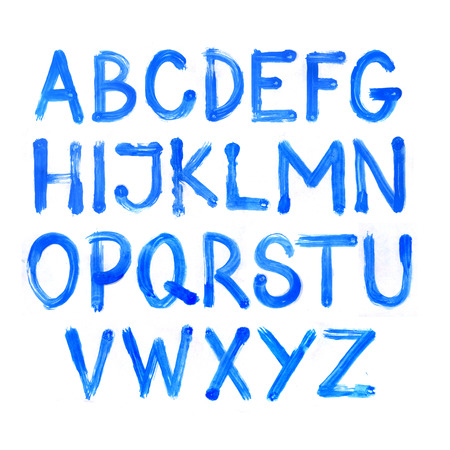 Blue watercolor alphabet. Vector font