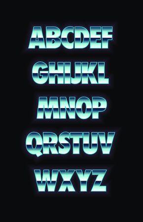 Neon and metal glowing alphabet. Vector