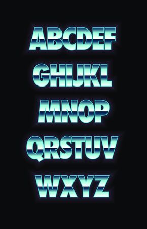 Neon and metal glowing alphabet. Vector