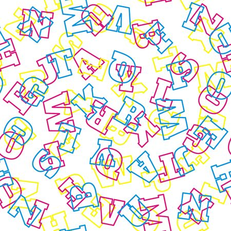 Alphabet seamless pattern. Vector letters