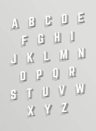 벡터 3D 알파벳입니다. 그림자가있는 흰색 글꼴 스톡 콘텐츠 - 57923034