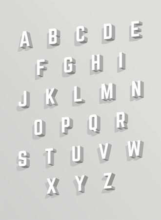 Vector 3D alphabet. White font with shadows Illustration