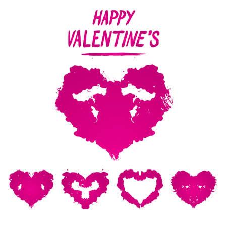 Happy Valentines postcard Rorschach test style. Detailed