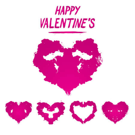 Happy Valentines postcard Rorschach test style. Detailed
