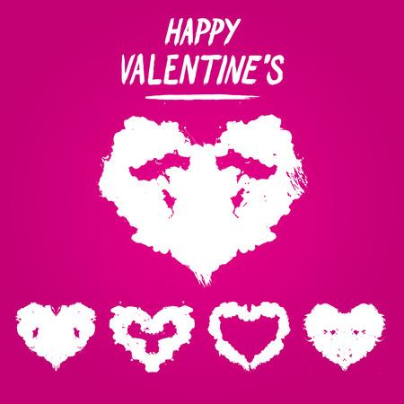Happy Valentine's postcard Rorschach test style. Detailed 일러스트