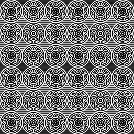 Seamless black and white geometric star pattern. Vector 일러스트