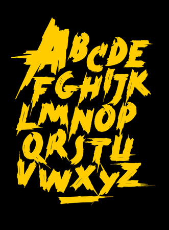 Yellow calligraphy hand lettering font. Vector alphabet