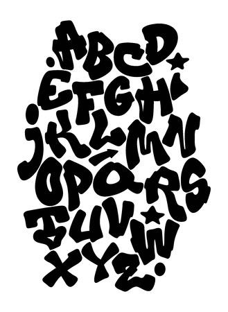 Graffiti hand lettering alphabet. Vector font 일러스트