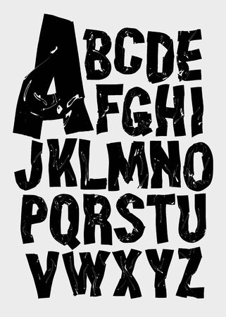 Black bold alphabet. Vector font 일러스트