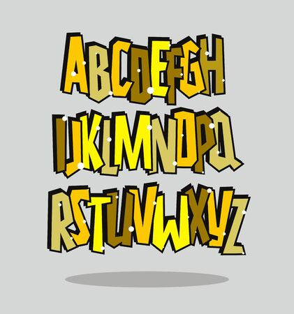 Graffiti comic alphabet lettering. Vector font 일러스트