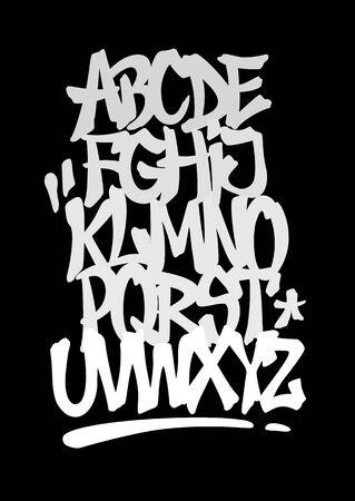 Handbeschriftung Graffiti-Schriftart mit Dekorationen. Vektoralphabet