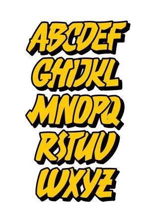 Graffiti or comic style alphabet. Vector font