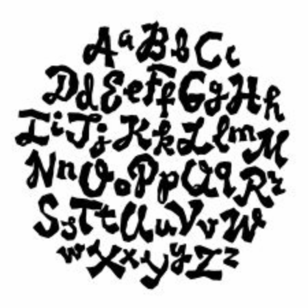 Hand lettering font. Uppercase and lowercase alphabet. Vector