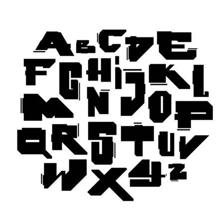 Geometric modern cyber style font. Vector alphabet
