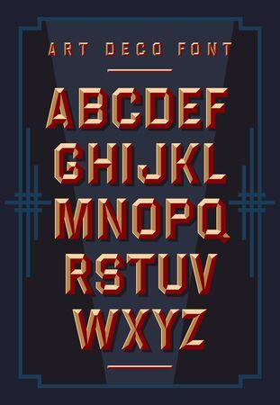 Art deco chiseled alphabet. Retro style. Vector font