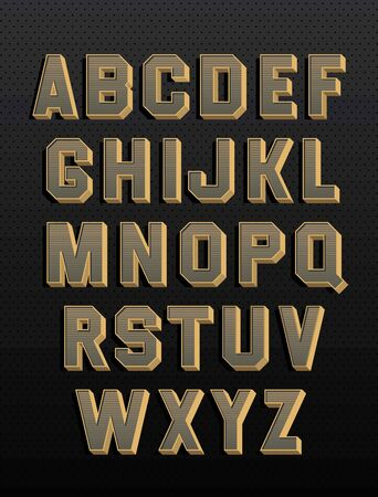 Retro alphabet with 3d and shadows. Vintage style. Vector font