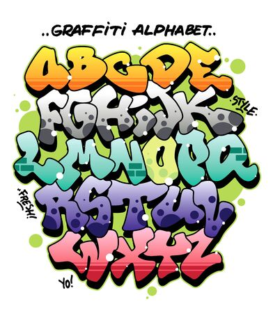 Multicolored comic style graffiti alphabet. Editable vector font