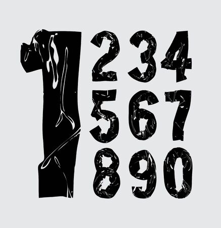 Black bold  tape alphabet - numbers. Vector font